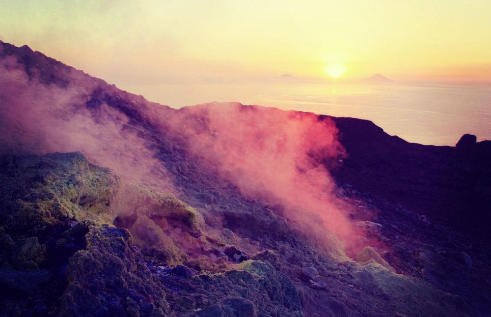 Sulfur Exhausts on Volcano