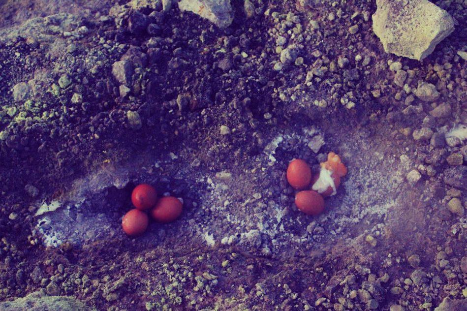 Steam Boiling Eggs on Volcano
